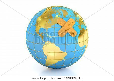 Earth with adhesive plaster sick world concept 3D rendering