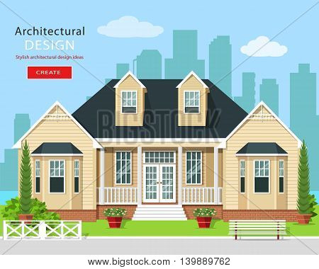Modern graphic private house with trees, flowers and city skyline. Real estate. Stylish detailed building with yard. Flat style vector illustration.