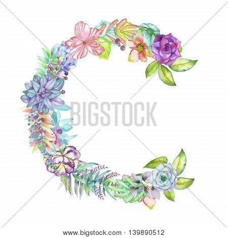 Capital letter C of watercolor flowers, isolated hand drawn on a white background, wedding design, english alphabet for the festive and wedding decor and cards