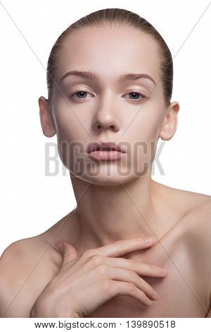 beauty woman shyly looking down on white
