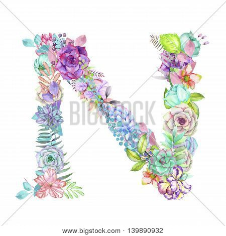 Capital letter N of watercolor flowers, isolated hand drawn on a white background, wedding design, english alphabet for the festive and wedding decor and cards