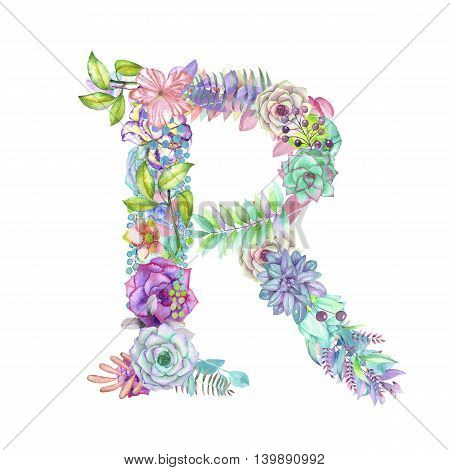 Capital letter R of watercolor flowers, isolated hand drawn on a white background, wedding design, english alphabet for the festive and wedding decor and cards