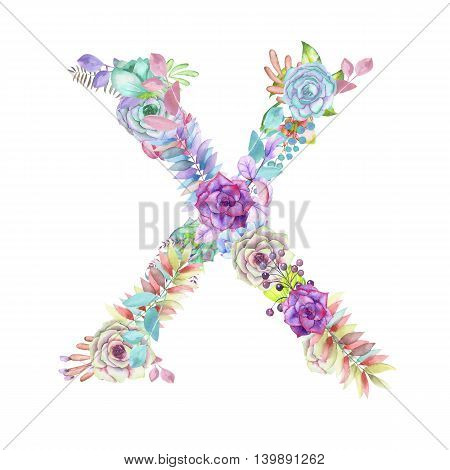 Capital letter X of watercolor flowers, isolated hand drawn on a white background, wedding design, english alphabet for the festive and wedding decor and cards