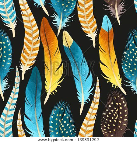 Decorative golden and blue feathers vector seamless background