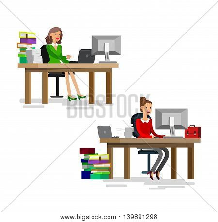 Vector detailed character corporate business team people sitting behind desk. Office worker, Men and women