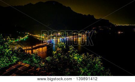 Maiori and Minori seen from Ravello by night. Mediterranean sea and Amalfi coast Italy