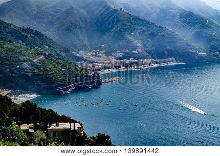 Maiori and Minori seen from Ravello. Mediterranean sea and Amalfi coast Italy