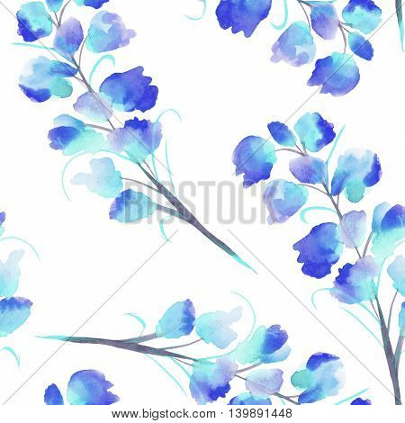 Seamless pattern with the isolated watercolor blue Delphinium (Larkspur) flower, hand drawn on a white background