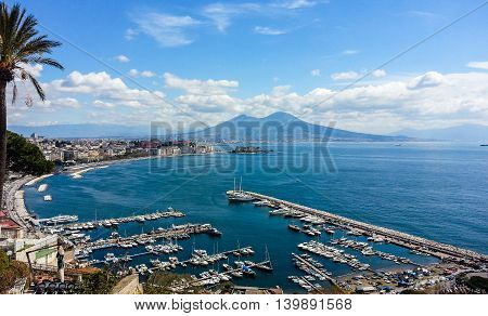 The bay of Naples landscape from Posillipo hill. Italy