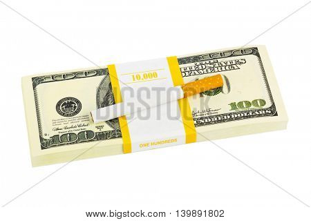 Money and cigarette isolated on white background