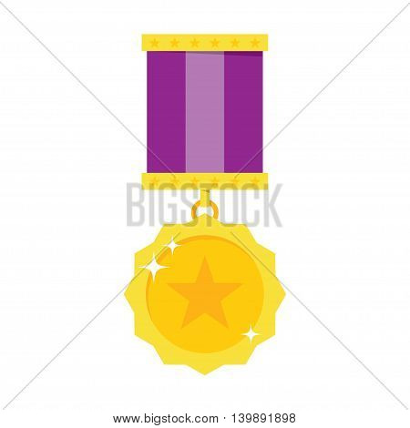 Gold Medal vector icon in flat style on a white background