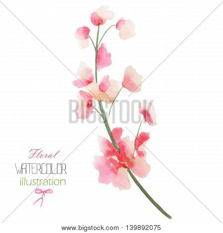 Illustration with the isolated watercolor pink Delphinium (Larkspur) flower, hand drawn on a white background,  for self-compilation of the bouquets and ornaments