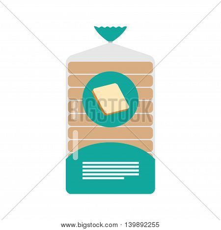 pack of sliced bread on a white background in clear plastic film bag