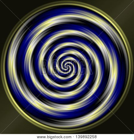 Abstract decorative sphere - blue and silver spiral pattern