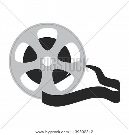 Flat icon movie tape on white background. Vector illustration.