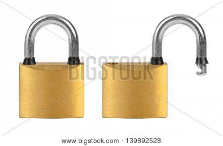 Set of locks isolated on white background