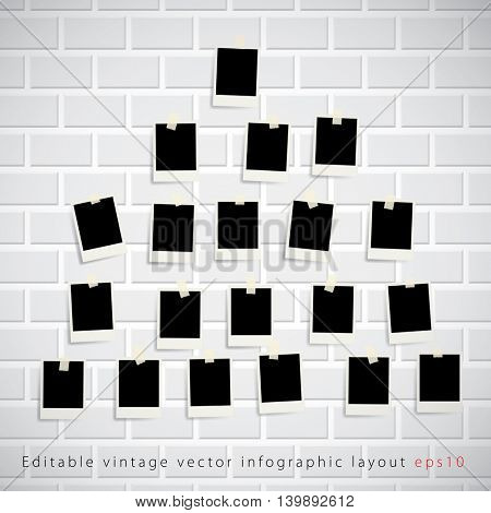 vector vintage blank photos on white brickwall, editable background, layered background, instant photos