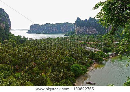 Beautiful panoramic view of Railay Beach, THAILAND.