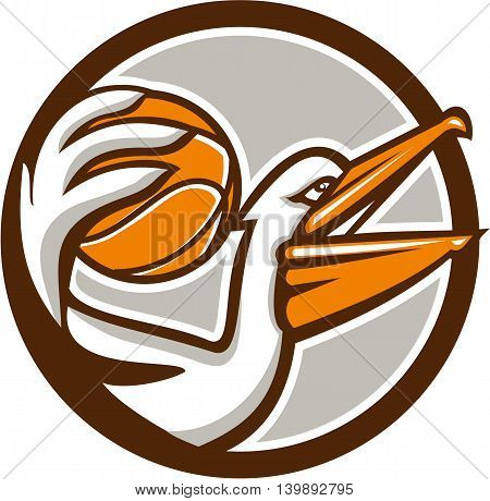 Illustration of a pelican holding dunking basketball viewed from the side set inside circle on isolated background done in retro style.
