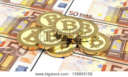 Stack of bitcoins with euro bills. 3D illustration.