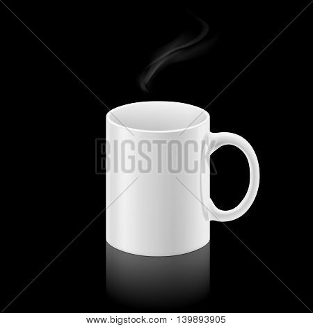 White office mug with a small stream of smoke above it on black background.