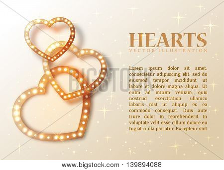 Romance background with shiny hearts and text for design, vector