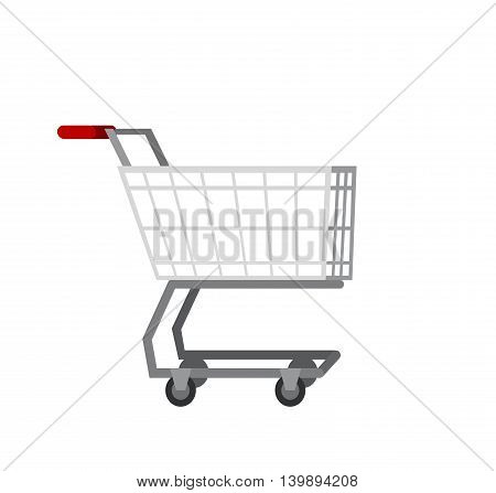 Concept illustration for Shop. Vector supermarket cart