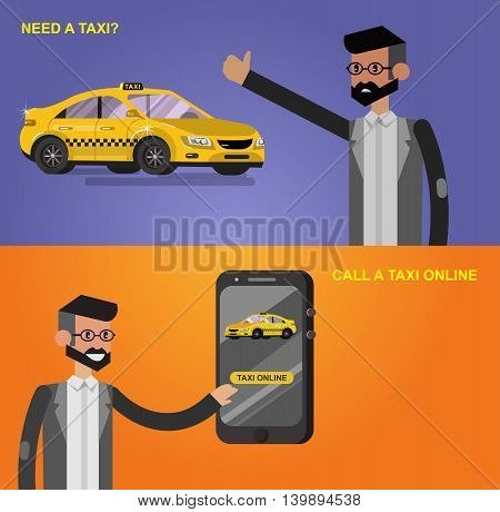 Vector detailed character men with phone taxi hire service application running, creative infographics