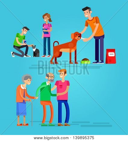 Vector detailed character Volunteer design concept with woman and a man helping elderly people, veterinary care for homeless animals, feed dog and cat
