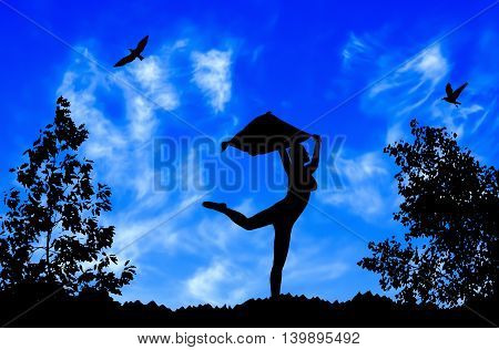 Young Girl Silhouette With Shawl Dancing On Blue Cloudy Sky Background