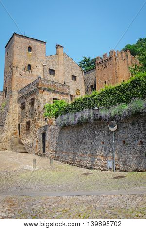 Monselice, Italy, June, 23, 2016: cityscape with the custel in an old part of Monselice, Italy