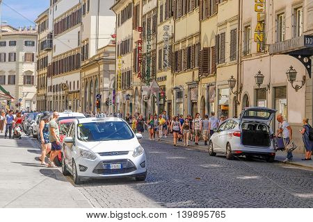 Florence, Italy - June, 25, 2016: taxi in Florence, Italy