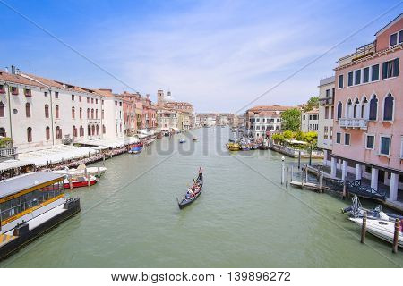 Venice, Italy, June, 21, 2016: landscape with the image of boats on a channel in Venice, Italy