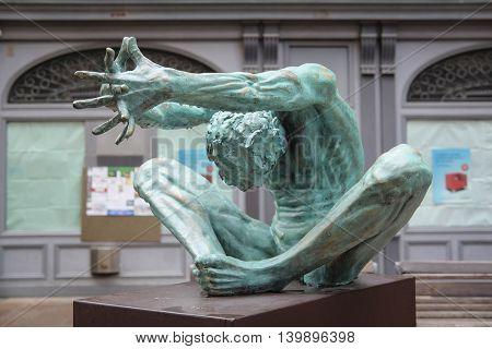 Bologna, Italy - June, 18, 2016: sculpture in a center of Bologna, Italy