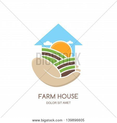 Farm and farming vector logo label emblem design. Fields and farm landscape in house shape. Hand holding greenhouse. Concept for agriculture harvesting natural farm organic products.