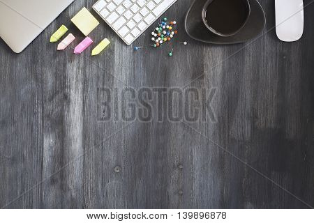 Dark Wooden Table With Items