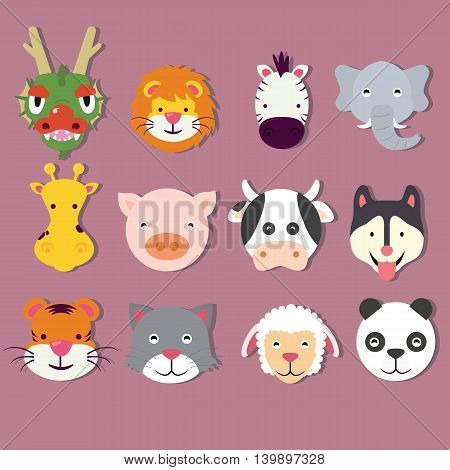 animal icon set faces mask vector cute of dragon lion tiger panda pig elephant sheep cat vector