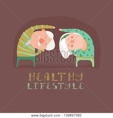 Elderly people doing exercises. Vector flat cartoon illustration