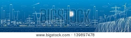 Hydro power plant, energy lines, industrial panoramic, infrastructure, vector design art