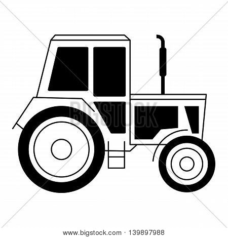 The black vector illustration with a tractor