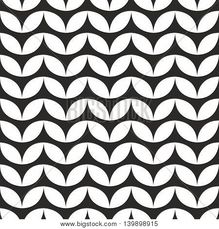 Tile black and white knitting vector pattern or winter background