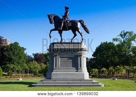 BOSTON,MASSACHUSETTS,USA - JULY 2,2016: George Washington Statue at Boston Public Garden Boston Massachusetts USA.The Public Garden founded 1837.