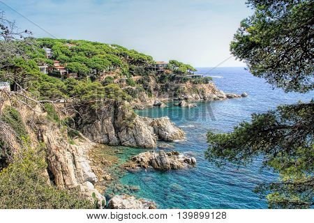 Beautiful view of coast of Lloret de Mar (Costa Brava Catalonia Spain)