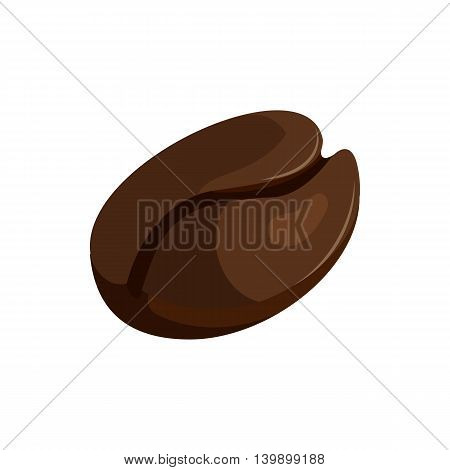 Coffee bean icon in cartoon style isolated on white background