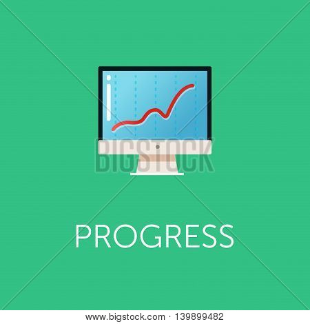 Stock exchange rates on monitors. Profit graph for diagram. Electronic stock numbers. Profit gain. Business stock exchange. Live online screen. Flat icon