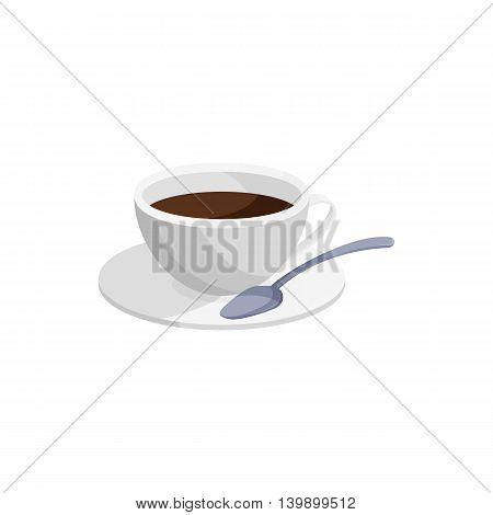 Coffee cup icon in cartoon style isolated on white background