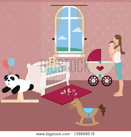baby nursery room with crib toys and moms holding the baby vector