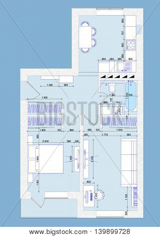 Vector illustration plan one-bedroom apartment on blue background