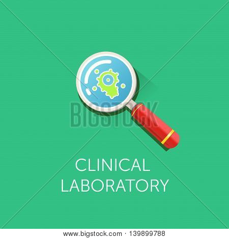 Research Bio Technology and Science Chemical laboratory icon. Flat design. Magnifying glass and virus bacterium