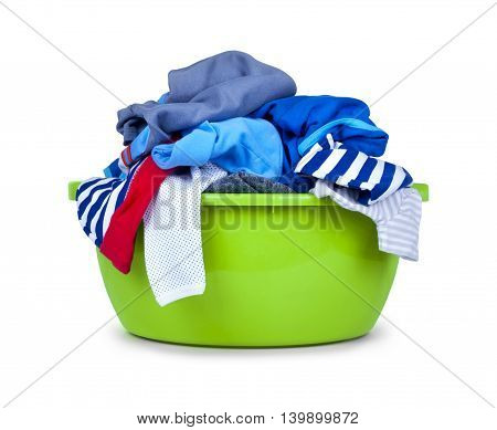 green plastic wash bowl with clothing isolated on white background